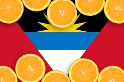 Antigua and Barbuda flag in citrus fruit slices horizontal frame royalty free illustration