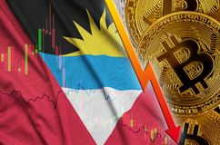 Antigua and Barbuda flag and cryptocurrency falling trend with many golden bitcoins stock illustration