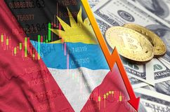 Antigua and Barbuda flag and cryptocurrency falling trend with two bitcoins on dollar bills stock images