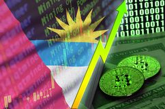 Antigua and Barbuda flag and cryptocurrency growing trend with two bitcoins on dollar bills and binary code display. Concept of raising Bitcoin in price and royalty free stock image