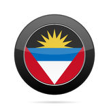 antigua Barbuda flagę Czarny round guzik Zdjęcie Royalty Free