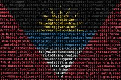 Antigua and Barbuda flag is depicted on the screen with the program code. The concept of modern technology and site development royalty free illustration