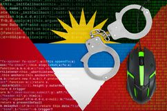 Antigua and Barbuda flag and handcuffed computer mouse. Combating computer crime, hackers and piracy vector illustration