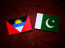 Antigua and Barbuda flag with Pakistan flag on a tree stump isol. Ated Stock Images