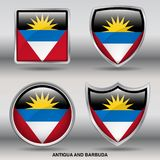 Antigua & Barbuda Flag in 4 shapes collection with clipping path royalty free stock image