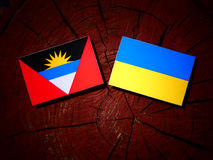 Antigua and Barbuda flag with Ukrainian flag on a tree stump iso. Antigua and Barbuda flag with Ukrainian flag on a tree stump Royalty Free Stock Photos