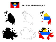 Antigua and Barbuda map vector, Antigua and Barbuda flag vector, isolated Antigua and Barbuda Stock Image