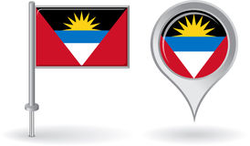 Antigua and Barbuda pin icon, map pointer flag Royalty Free Stock Images