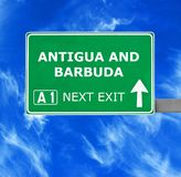 ANTIGUA AND BARBUDA road sign against clear blue sky royalty free stock image