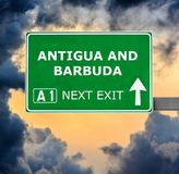 ANTIGUA AND BARBUDA road sign against clear blue sky stock photos