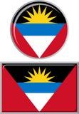 Antigua and Barbuda round, square icon flag Stock Image