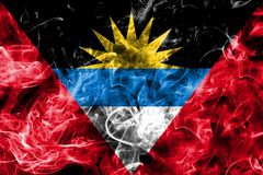 Antigua and Barbuda smoke flag. Isolated on a black background Royalty Free Stock Photos