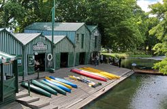 Antigua Boat sheds in Christchurch. Antigua Boat sheds at the river Avon in Christchurch, Canterbury, South Island, New Zealand royalty free stock photo