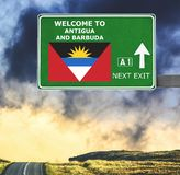 Antigua and Brabuda road sign against clear blue sky stock photo