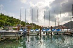 Antigua, Caraïbische eilanden, Engelse haven en jachten Stock Afbeelding