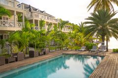Free Antigua, Caribbean Islands, Beach South Point Hotel, View With Pool And Palms Stock Photos - 113518863