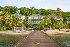 Free Antigua, Caribbean Islands, Beach South Point Hotel, View With Pool And Palms Stock Image - 113518911