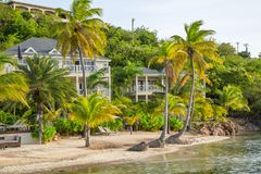 Antigua, Caribbean islands, Beach South Point Hotel, view with pool and palms Royalty Free Stock Photo