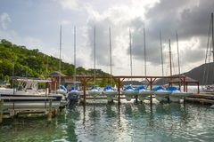 Antigua, Caribbean islands, English harbour and yachts Stock Image