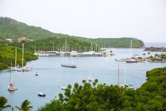 Antigua, Caribbean islands, English Harbour and Nelson`s dock yard. Stock Images