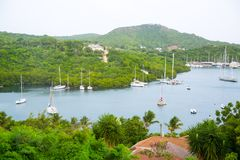 Antigua, Caribbean islands, English Harbour and Nelson`s dock yard. Royalty Free Stock Photography