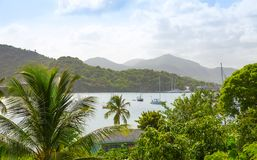 Antigua, Caribbean islands, English Harbour view with yachts. Beautiful landscape stock images
