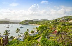 Antigua, Caribbean islands, English Harbour view with yachts. Beautiful landscape stock photo
