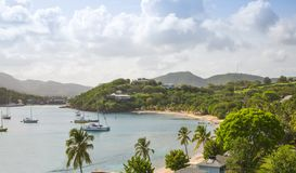 Antigua, Caribbean islands, English Harbour view with yachts. Beautiful landscape stock photography