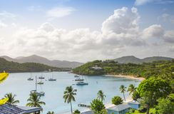 Antigua, Caribbean islands, English Harbour view with yachts. Beautiful landscape royalty free stock photos
