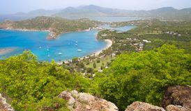Antigua, Caribbean islands, English Harbour view with yachts. Beautiful landscape royalty free stock photo