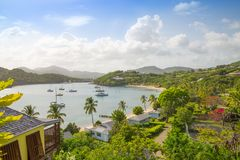 Antigua, Caribbean islands, English Harbour view with yachts. Beautiful landscape royalty free stock image