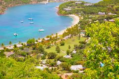 Antigua, Caribbean islands, English Harbour view with yachts. Beautiful landscape royalty free stock images