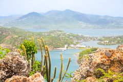 Antigua, Caribbean islands, English Harbour view with yachts. Beautiful landscape stock photos