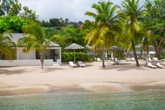 Antigua, Caribbean islands. English Harbour view on Galeon beach Royalty Free Stock Photos