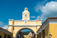 Antigua Church, Gautemala Travel, Arch. The famous church arch in Antigua, Guatemala. Central America is a popular tourist destination for people on vacation or Stock Photography