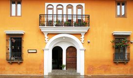 Antigua City, Guatemala. Colourful colonial architecture seen from the cobbled streets. Beautiful Streetscape. stock images
