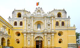 Antigua City, Guatemala. San Jose cathedral at Plaza Mayor square. UNESCO site. Cloudy day royalty free stock photography