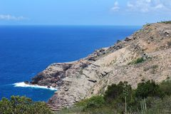Antigua Coast. The view of rocky coast of Antigua island (Antigua & Barbuda Stock Photo