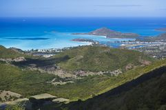 Antigua Coastline High Angle View. View from Boggy Peak to Jolly Beach in Antigua royalty free stock photography