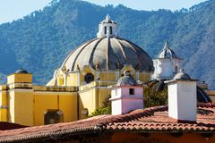 Antigua. Colonial architecture in ancient Antigua Guatemala city, Central America, Guatemala stock photography