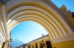 Antigua. Colonial architecture in ancient Antigua Guatemala city, Central America, Guatemala stock image
