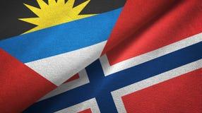 Antigua en Barbuda en Noorwegen twee vlaggen textieldoek, stoffentextuur royalty-vrije illustratie