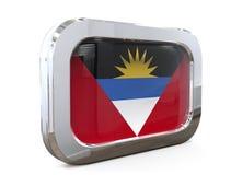 Antigua en van de de Knoopvlag van Barbuda 3D illustratie Stock Afbeeldingen