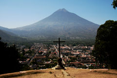 Antigua Guatemala. A panoramic scene of Antigua Guatemala, with the volcano stock photography