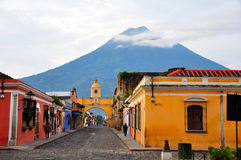 Antigua Guatemala. A view of the UNESCO World Heritage Site Antigua and it's surrounding volcanoes, Guatemala royalty free stock images