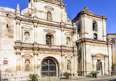 Facade of San Agustin church ruins, Antigua, Guatemala stock photo