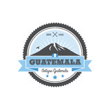 Antigua Guatemala badge with volcano Agua. Patch Royalty Free Stock Photo