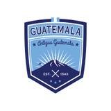 Antigua Guatemala badge with volcano Agua. Patch Stock Photography