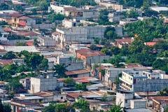 Antigua Guatemala city suburbs. Aerial view of buildings in Antigua Guatemala city, Guatemala stock photography