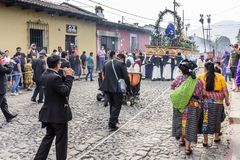 Musicians behind Lent procession, Antigua, Guatemala stock photo